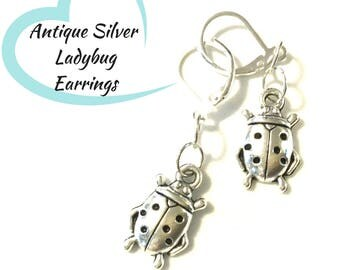 Tiny Ladybug Earrings, Antique Silver Earrings, Gift for Her, Lucky Ladybug Earring Gift, On Trend Earrings, Good Fortune Earring Gift
