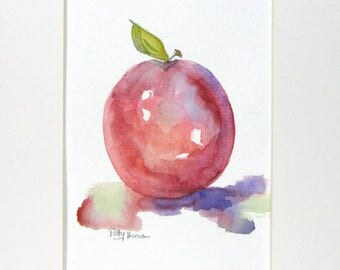Original Watercolor, Apple Watercolor, Fruit Watercolor, Apple Painting, Kitchen Decor