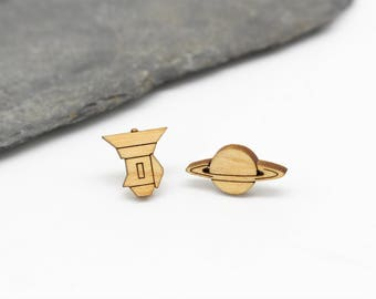 Cassini and Saturn Stud Earrings   Laser Cut Space & Science Jewellery   Planets