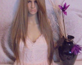 Human hair blend wig lace front color #30 and 27 highlights 28''