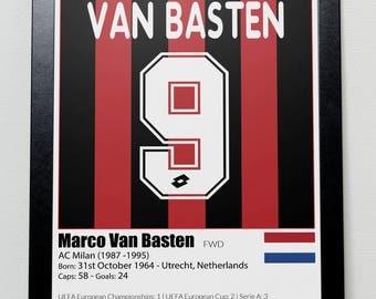 AC Milan Legends Poster Van Basten Baresi Gullit Rijkaard Maldini