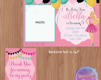Barbie Birthday Party Invitation with Photo