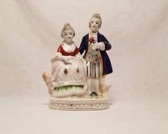 WOMAN MAN FIGURINE Porcelain Colonial Occupied Japan Victorian Couple Vintage Antique