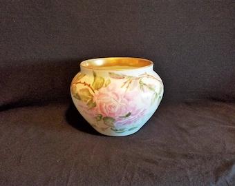 LIMOGES FRANCE JARDINIERE Planter Bowl Hand Painted Pink Roses Porcelain Gold D&C Vase Antique