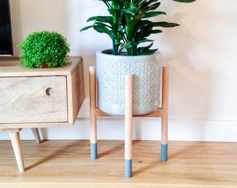 Beech hardwood mid-century plant stand. Beautiful, cool hand crafted design.
