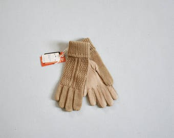 tan driving gloves / deadstock vintage knit gloves with leather palms