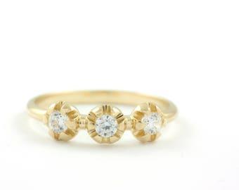 Gold Engagement Ring, Diamond Ring, Diamond Gold Ring, Engagement Diamond Ring, Wedding Ring, Gold Stacking Ring, Flower Diamond Ring GR0401