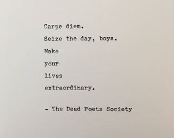 Dead Poets Society quote hand typed on antique typewriter scrapbooking