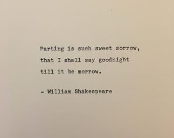 William Shakespeare love quote Romeo and Juliet hand typed on antique typewriter gift girlfriend boyfriend husband wife wedding birthday