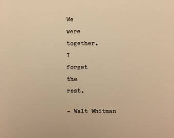 Walt Whitman love quote hand typed on antique typewriter gift girlfriend boyfriend husband wife wedding present birthday valentines