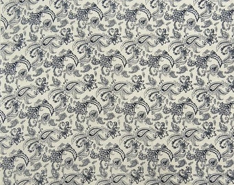 """Decor Fabric, Paisley Print, Off White Fabric, Apparel Fabric, Home Decoration, 42"""" Inch Cotton Fabric By The Yard ZBC8492A"""