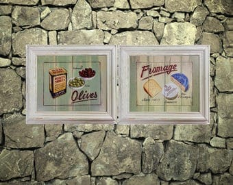 Set of 2 - Vintage CANVAS Prints, Fromage & Olives Noire by Martin Wiscombe, 14x12 Food Wine Kitchen, Unframed, Framed, Cheese, Wood