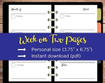 """Weekly Planner,Week on two pages,Printable,Weekly agenda,Kikki k,Weekly calendar,Personal size (3.75"""" x 6.75"""") #per016"""
