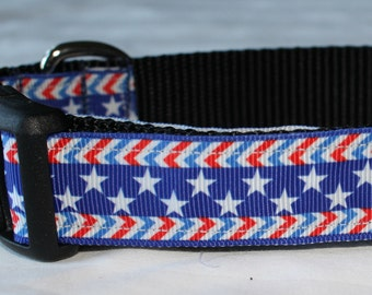 "Patriotic Chevron Star Dog Collar - Side Release Buckle (1"" Width) - D-Ring Martingale Option Available"