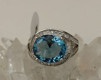 Blue Topaz Party Ring Size 6