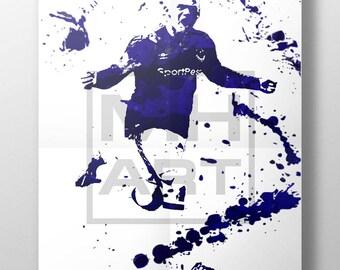 Wayne Rooney Digital Print. Everton. Football. England. Premier League. Wall Art. Poster. Gift. EFL
