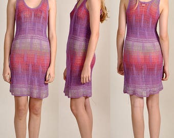 vintage MISSONI tonal-purple crochet-knit slip on dress          H8