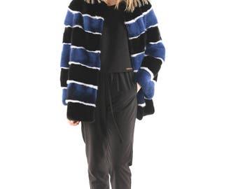 Luxury gift / Blue And Black With White Mink fur coat / Fur jacket Full skin Salem