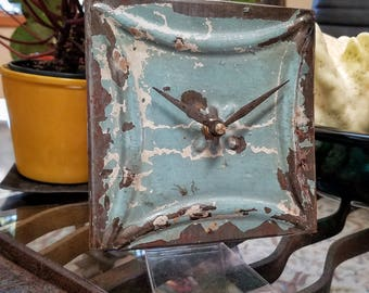 Seafoam serenity. Elegant desk clock from salvaged ceiling tin