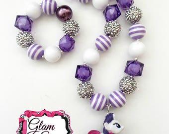 My Little Pony Necklace & Bracelet Set - Chunky Bubblegum Bead 20mm Set Birthday Gift  MLP Rarity Chunky Necklace
