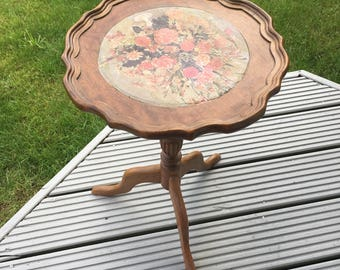 Vintage Wooden Floral Round Table
