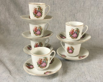 Vintage Porcelain Courting Couple Demitasse Set, 6 Cups and Saucers
