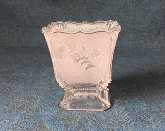 Vintage Frosted Glass Rosebud Planter or Candy Dish