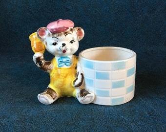 Vintage Teddy Bear Baby Boy Nursery Planter, Baby Shower Gift