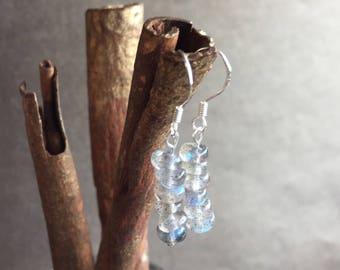 Labradorite Earrings, Labradorite and Sterling Silver Earrings