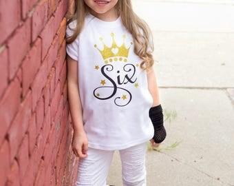 Six Birthday Shirt - 6th Birthday Girl - 6 Birthday Gift - Six Year Old - Six Birthday Outfit - Glitter Birthday T-Shirt