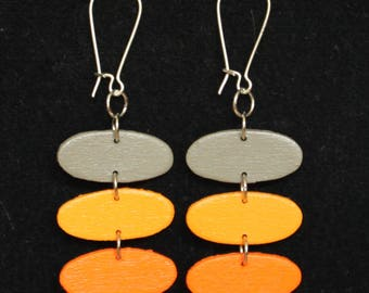 Mini Mod Mobiles Tangerine/Light-Orange/Gray Ovals Handpainted Handmade Earrings