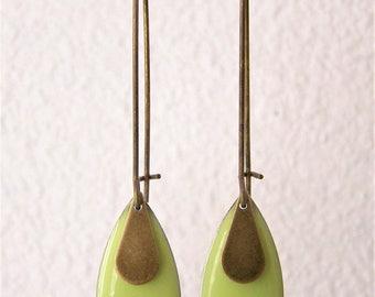 Lime green enameled sequin drop earrings