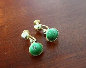 1960s Marbled Jade Screw-back Earrings