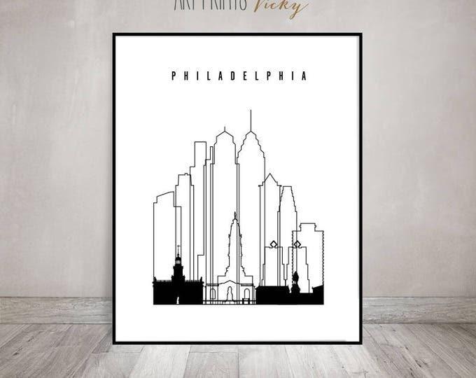 Philadelphia minimalist black & white wall art, print, poster, skyline, cityscape, travel, city prints, Gift, Home Decor ArtPrintsVicky.