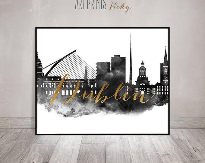 Dublin wall art print, black and white poster, Dublin skyline, travel decor, gift, Wall art, Ireland, faux gold, ArtPrintsVicky