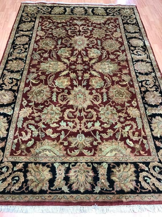 "6'1"" x 9'2"" Indian Agra Oriental Rug - Hand Made - Full Pile - 100% Wool"