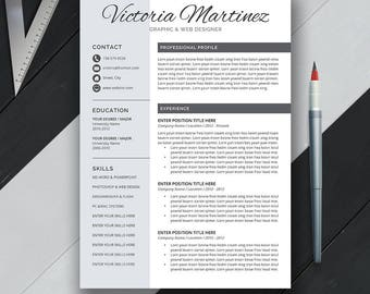 Professional Resume Template, Cover Letter, CV Template, Word, US Letter, A4, Simple, Creative, Modern Resume, Instant Download, 'VICTORIA'