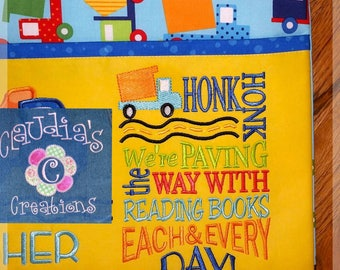 Honk! Honk! Embroidery Saying, We're paving the way with reading books each & every day Embroidery Saying, Pocket Pillow Saying