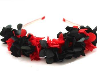 FLOWER,hydrangea,red,black,crown,tiara,wreath,flower comb, adjustable, boho,natural,preserved,dried,hydrangea,BLACK,RED