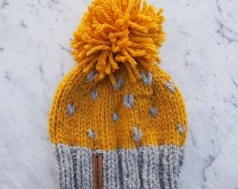 Baby Chunky Knit Mustard & Grey Winter Beanie