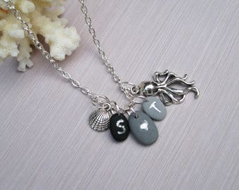 Personalized Charm necklace Initial charm Nautical necklace Sea jewelry Ocean necklace Sea Shell necklace Octopus jewelry Travel necklace