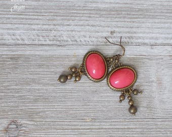 Pink Oval Bead Earrings | Gold Edged Earrings | Gold Bead Earrings | Mixed Media