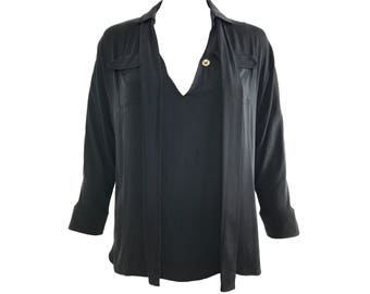 GUCCI Vintage Black Silk Pussy-Bow Neck Tie Blouse Shirt Top