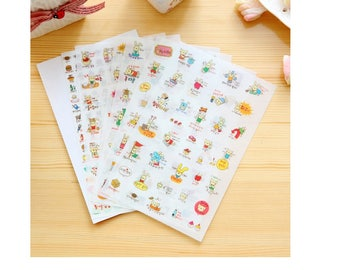 Cat & Rabbit Stickers (6 Sheets) / Cute Planner Stickers / Cute Cat Stickers / Kawaii Stickers / Cute Stickers / Kawaii Cat Stickers