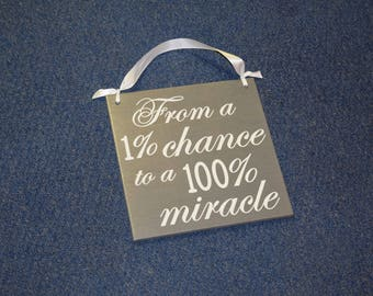 From a 1% CHANCE to a 100 per cent MIRACLE! Pregnancy Announcement Sign Photo Prop - There's a baby on the way!