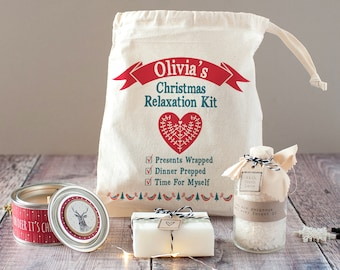 Personalised 'Christmas Relaxation' Relaxation Kit - Christmas Spa Kit For Mum