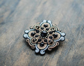 Soutache brooch, Grey, beige and black brooch, Embroidered brooch, Soutache jewelry, Beaded brooch, Gift for her, FREE SHIPPING