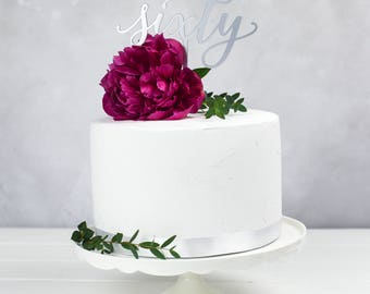 Sixty Birthday Cake Topper - Milestone Birthday Number Cake Decoration