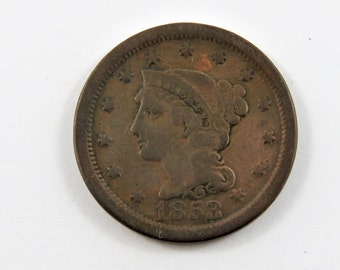 U.S. 1853 Braided Hair One Cent Coin.