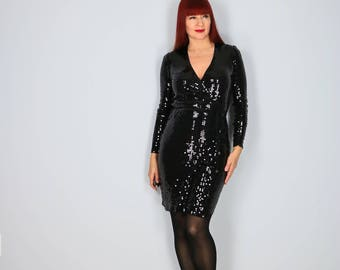 1990s Black Sequin Party Dress - XS/S - Sexy Wrap Cocktail Dress - Long Sleeve Body Con Evening Dress - Designer Michael Kors - Vintage LBD